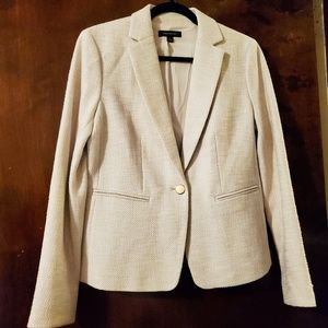 Ann Taylor | Gold Button Ivory Tweed Blazer 6 Tall
